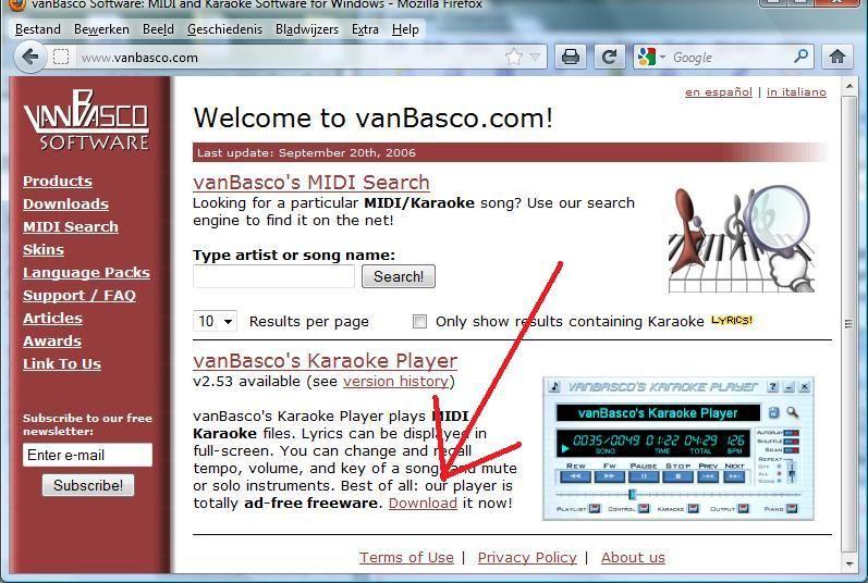 Screenshot website van Basco's Karaoke Player