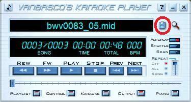 hoofdscherm vanBasco's Karaoke Player